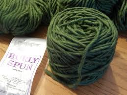 burly spun super bulky kiwi green wool yarn cake soft wound ready