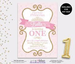 Princess Birthday Invitation Cards Princess Birthday Invitation Gold Glitter Pink Gold