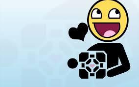 Awesome Face Meme - portal funny companion cube meme aperture laboratories awesome