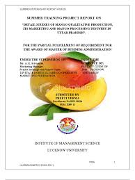 detail studies of mango qualitative production its marketing and