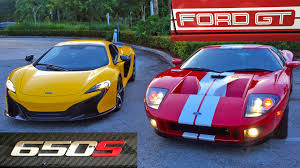 ford gt vs lamborghini murcielago 700 hp ford gt vs 641 hp mclaren 650s spider racing