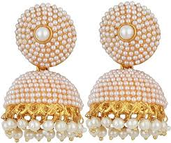 fancy jhumka earrings jewels gehna gold plated fancy stud pearls jhumka earring