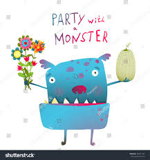 cute funny monster bunch flowers fruit stock vector 303471197