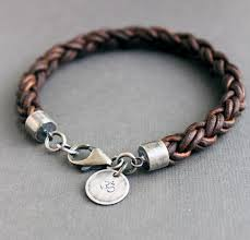 leather bracelets for men mens natural brown leather bracelet thick braided sterling silver