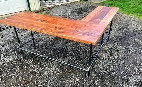 reclaimed wood l shaped desk reclaimed wood l shaped desk black iron pipe l shaped desk reclaimed