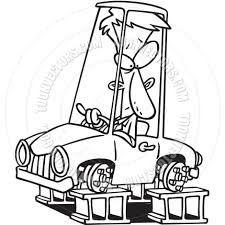 cartoon car drawing cartoon car blocks black and white line art by ron leishman