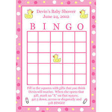 baby shower bingo 24 personalized baby shower bingo cards pink rubber ducky ebay