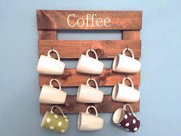 wooden coffee wall coffee mug holder rustic mug rack coffee cup display reclaimed