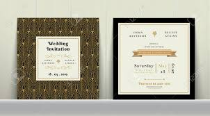 art deco wedding invitation card in gold and black colour on
