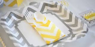 Grey Chevron Table Runner Chevron Yellow Baby Shower Theme Bigdotofhappiness Com