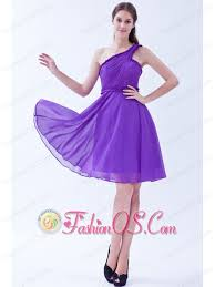 purple a line one shoulder chiffon ruch prom dress knee length 97 19