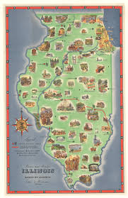 Vintage Chicago Map by Scenic And Historic Illinois Hjbmaps Com U2013 Hjbmaps Com Harlan J