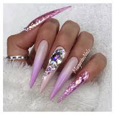 stiletto nails bling nail design lavender ombré art pink