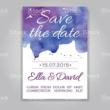vector wedding invitation card with watercolor background stock