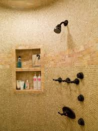 Bathroom Shower Shampoo Holder Blooming Shower Shampoo Holder With Mosaic Tiles Shelves Bath Fixtures