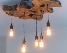Hanging Edison Bulb Chandelier Custom To Order Live Edge Slab Light Fixture With Hanging Edison