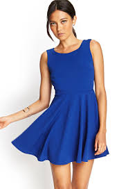 forever 21 scoop back skater dress in blue lyst