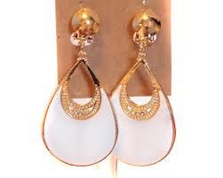 hoop clip on earrings clip on earrings bright white teardrop hoop earrings
