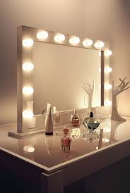 bedroom rectangle vanity mirror with lights on white wooden