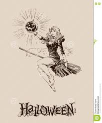 vintage halloween illustration blond with pumpkin flying on broom halloween illustration