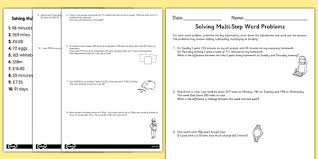 differentiated two step maths word problems activity sheet pack