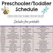 printable evening schedule includes ideas and a free printable schedule for preschoolers and
