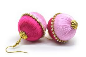 pink combination buy silk thread earrings fashion jhumkas online for women at