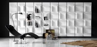 White Modular Bookcase by Modular Wall Bookcase In White Gf71 Lacquered Embossed Wood