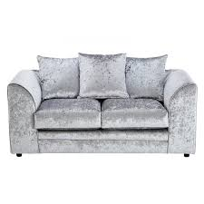 Two Seaters Sofa Galaxy Silver Velvet Two Seater Sofa Glam Home Store