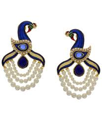 peacock design earrings hyderabad jewels peacock design pearl hanging earrings buy