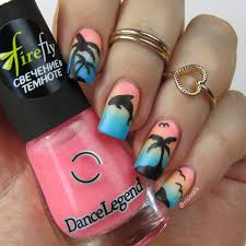 nail art tutorial tropical palm tree and dolphin gradient nail