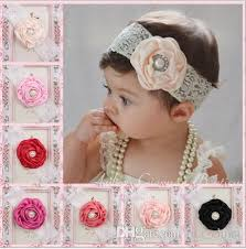lace headwear 2015 infant flower pearl headbands girl lace headwear kids baby