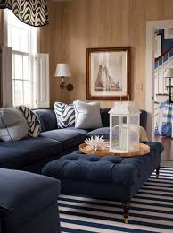 nautical living room decorating with navy blue furniture