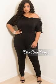 plus size black jumpsuit plus size one shoulder jumpsuit with lace up sleeve in black