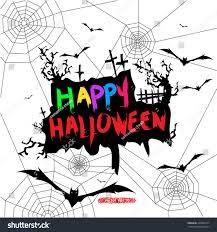 vector drawing happy halloween wordings scary stock vector