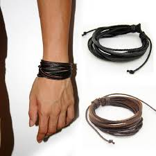bracelet men leather images Male leather bracelets bangles for men black brown braided rope jpg