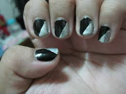 black u0026 silver triangle nail art otakuffee