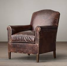 Club Chair Camelback Leather Club Chair