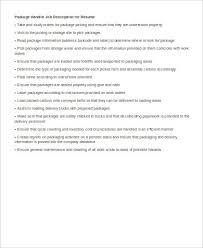 Package Handler Resume Sample by Package Handler Job Description Sample 8 Examples In Word Pdf