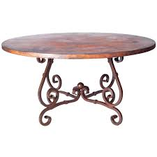 48 In Round Dining Table French Iron Dining Table With 48 In Round Hammered Copper Top