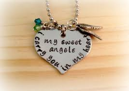 beautiful necklace online images Beautiful hand stamped i carry you in my heart my sweet angel or jpg