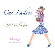 2018 calendar fashion illustration calendar cat ladies