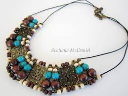 leather turquoise necklace images Necklace leather cord wood beads and turquoise jpg