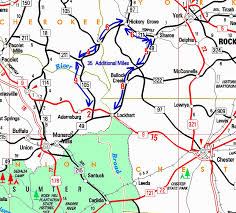 Map Of Sc Counties Sc 9 Bridge Where York Chester Union Counties Meet To Close For