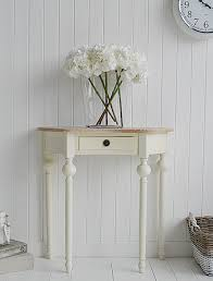 cottage half moon small table with drawer ideas in