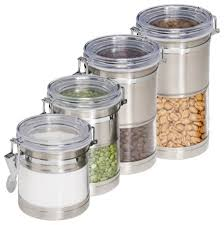 stainless steel kitchen canisters kitchen canisters stainless steel and acrylic set of 4