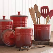 stoneware kitchen canisters le creuset enameled stoneware canisters williams sonoma