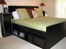 Wood King Platform Bed With Drawers High Black Wooden King Platform Bed Frame With Open Storage And