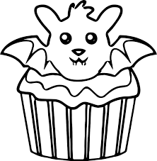 Halloween Pictures Coloring Pages Halloween Bat Cupcake Coloring Page Wecoloringpage