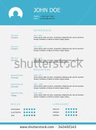 professional simple styled resume template design stock vector